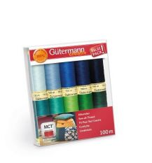 Gutermann Sew All Thread set Blues/Greens 100m x 10 reels