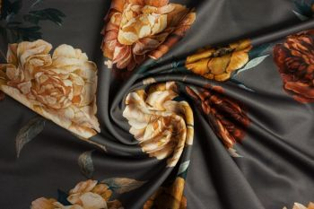 Lady McElroy Camelia Embers - Viscose Challis Lawn - Slate Grey Remnant 1.7M