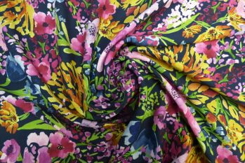 Lady McElroy Field Of Flowers - Navy Viscose Challis Lawn Remnant - 2.3m