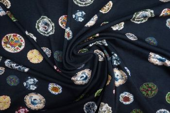 Lady McElroy Lotus Memoirs - Oxford Navy Crepe Jersey Faulty Remnant - 2.3m