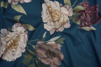 Lady McElroy Midnight Rosette - Cotton Marlie Lawn Remnant - 0.5m