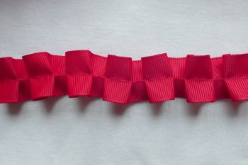 Red Ruched Ribbon Trim - 20m