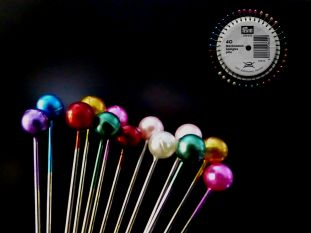 Rosette Of Multi-Coloured Pearlised Sewing Pins