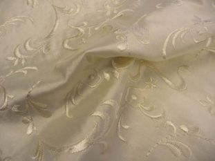 Yasmin - 100% Silk Embroidered Dupion Remnant - 3m